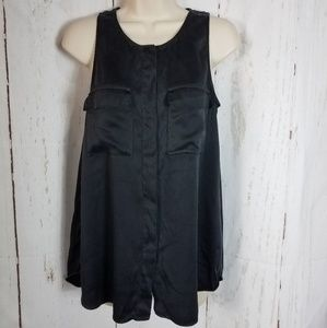 Theory m Sleeveless Blouse Black Silk Button Front